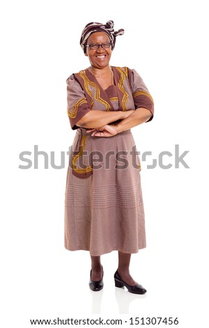 cheerful senior african woman with arms crossed over white background - stock photo