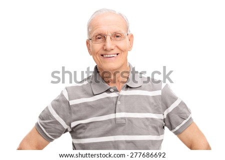 Cheerful senior gentleman in a casual gray polo shirt, smiling and looking at the camera isolated on white background - stock photo