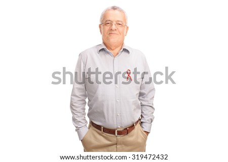 Cheerful senior gentleman posing with an AIDS badge on his shirt isolated on white background - stock photo