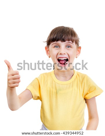 Cheerful Small Girl with Thumb Up on the White Background - stock photo