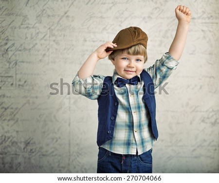 Cheerful smiling little kid - stock photo