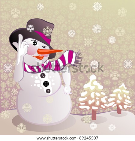 cheerful snowman wearing a top hat and a scarf - stock photo