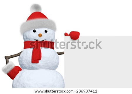 Cheerful snowman with blank white board in red fluffy hat, scarf and mittens isolated on white background, 3d illustration - stock photo