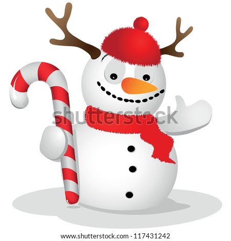 Cheerful snowman with deer antlers on his head, and who holds a Christmas cane