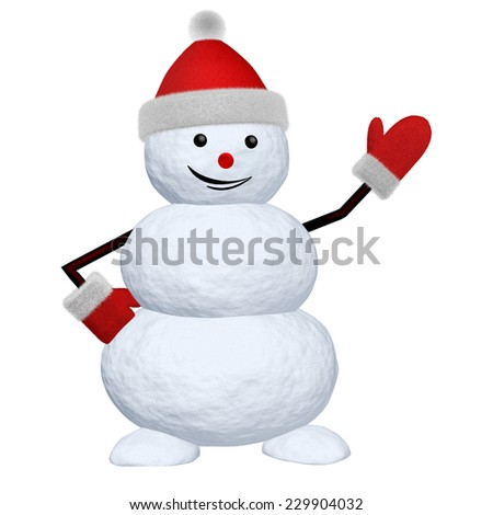 Cheerful snowman with red fluffy hat and mittens pointing to something 3d illustration - stock photo