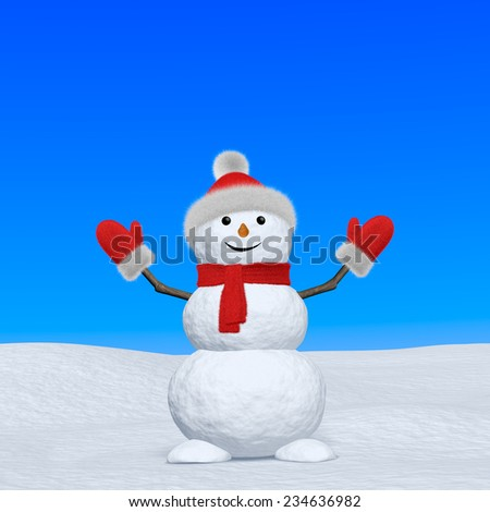 Cheerful snowman with red fluffy hat, scarf and mittens on snow looking up under blue sky, 3d illustration with copy-space - stock photo