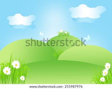Cheerful spring landscape in green, blue and white, illustration.