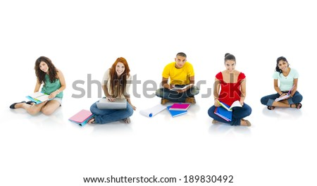 Cheerful students studying - stock photo