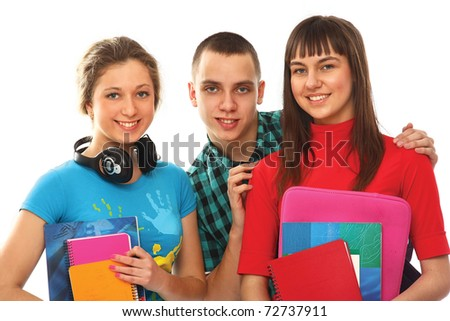 Cheerful team of students holding books