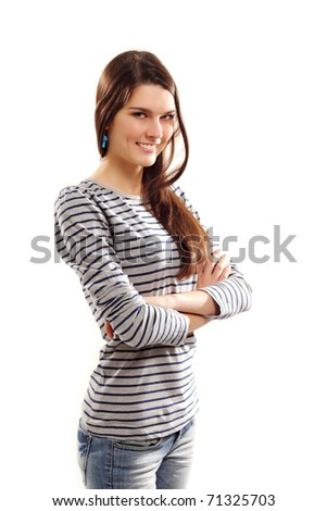 cheerful teen girl isolated on white background