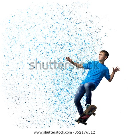 Cheerful teenager boy riding skateboard on white background