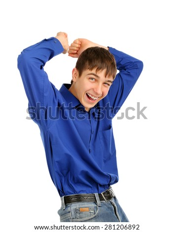 Cheerful Teenager Dancing on the White Background - stock photo