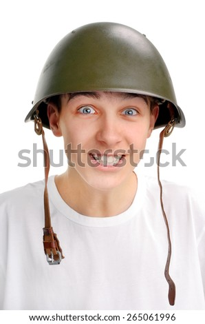 Cheerful Teenager in Military Helmet Isolated on the White Background - stock photo