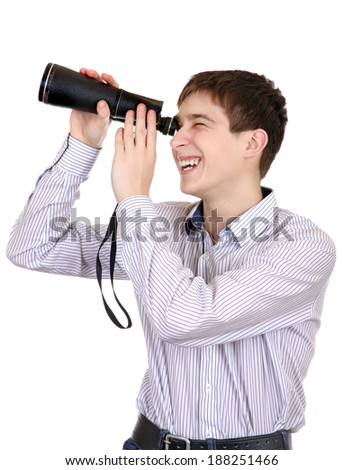 Cheerful Teenager is Spying for Someone on the White Background - stock photo