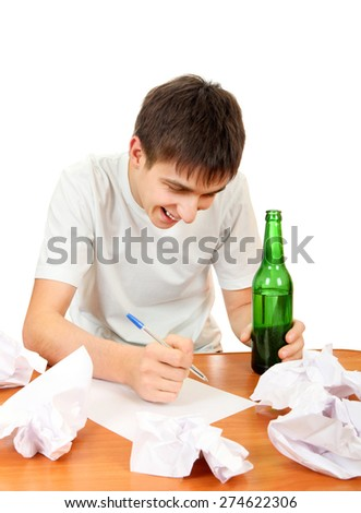 Cheerful Teenager with a Beer compose a Letter on the White Background - stock photo