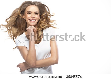 Cheerful woman - stock photo