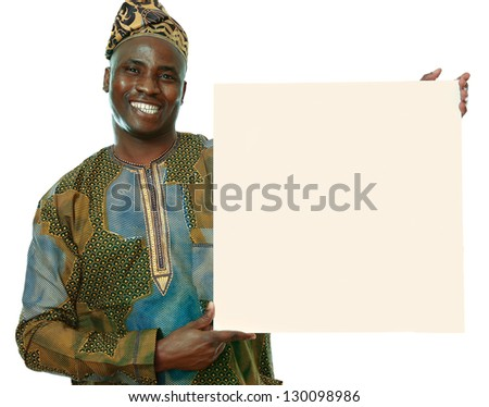 Cheerful young african american man with blank billboard, isolated on white background - stock photo