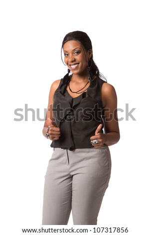 Cheerful Young African American Plus Size  Business Woman Thumbs Up Gesture on White Background Isolated