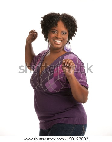 Cheerful Young African American Woman Confident Expression on White Background Isolated