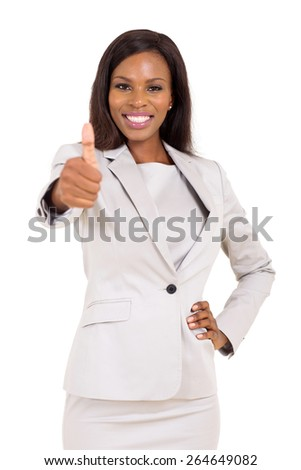 cheerful young african business executive giving thumb up - stock photo