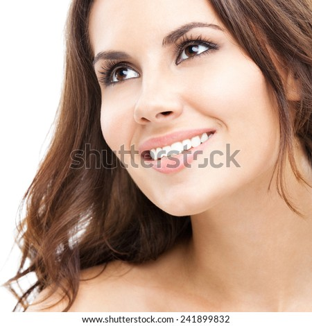 Cheerful young attractive woman, isolated over white background - stock photo