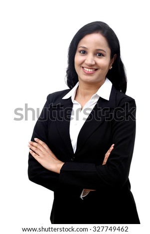 Cheerful young business woman with folded hands against white background.  - stock photo