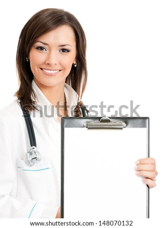 Cheerful young female doctor showing clipboard with copyspace for text or design, isolated over white background - stock photo