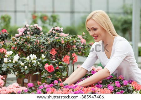 Cheerful young girl is working in plant shop - stock photo