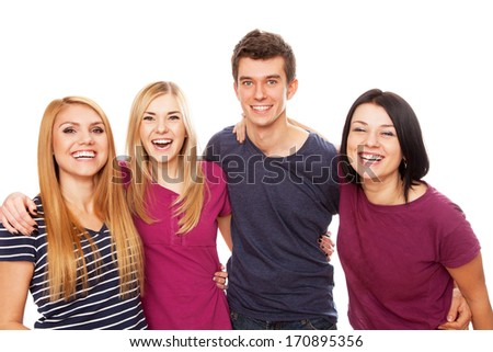 Cheerful young group isolated on white background