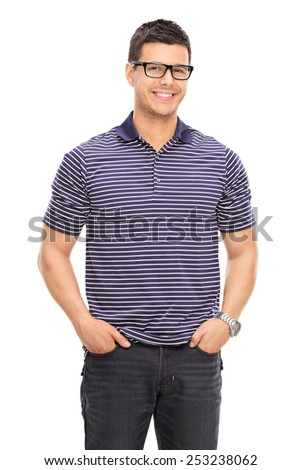 Cheerful young guy with glasses posing isolated on white background - stock photo