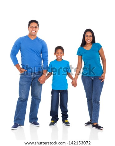 cheerful young indian family holding hands on white background - stock photo