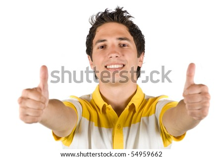 Cheerful young male giving thumbs up concept of successful life isolated on white background - stock photo