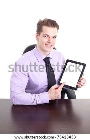 Cheerful Young Man With Modern Touchpad, Completely Isolated On White. - stock photo