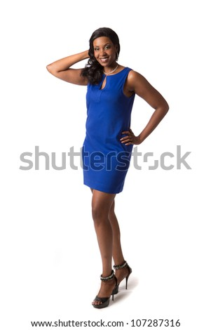 Cheerful Young Plus Size African American Woman Full-Body Portrait on White Background Isolated - stock photo