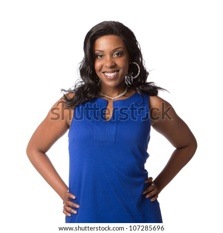 Cheerful Young Plus Size African American Woman Portrait on White Background Isolated - stock photo