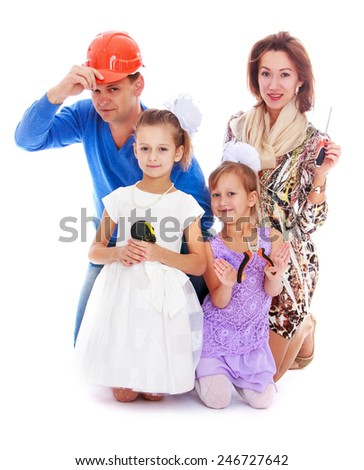 Cheerful young positive picture of the family.concept childhood education and child development.Isolated on white background - stock photo