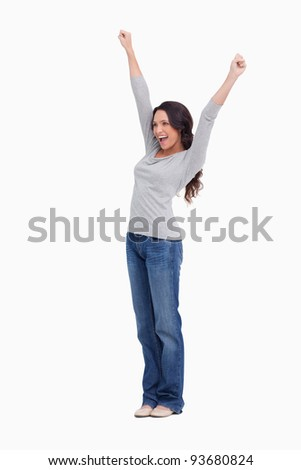 Cheerful young woman against a white background
