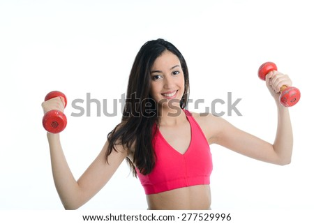 cheerful young woman doing fitness exercises isolated on white background - stock photo