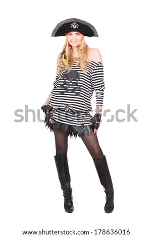 Cheerful young woman dressed as pirates. Isolated on white - stock photo