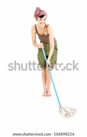 cheerful young woman with mop cleaning floor, full length, white background - stock photo