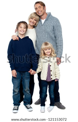Cheerfully winter wear family of four isolated on white background. - stock photo