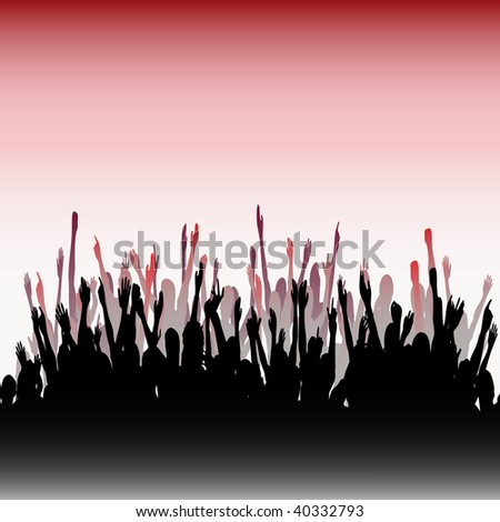 Cheering Audience Bitmap Background - stock photo