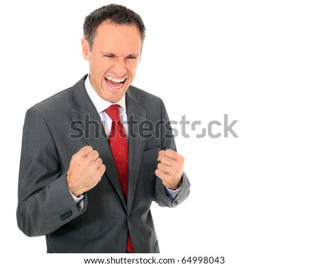 Cheering businessman. All on white background. - stock photo