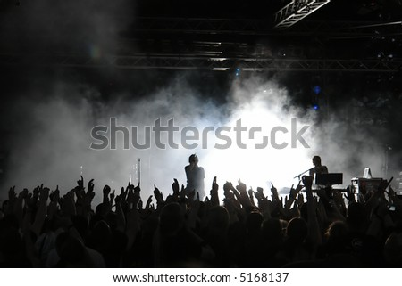 Cheering crowd at concert, musicians on the stage