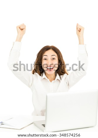 Cheering successful business woman