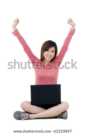 Cheering woman sitting on floor with a laptop over white background.