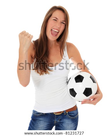 Cheering young woman holding soccer ball. All on white background. - stock photo