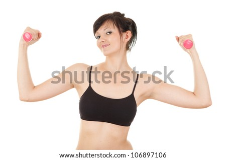 cheering young woman working out in the gym with small dumbbells, white background