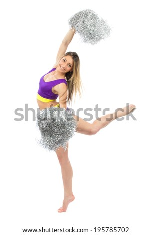 Cheerleader dancer from cheerleading team jumping and dancing isolated on a white background