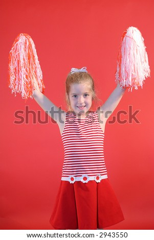 cheerleader girl vertical - stock photo